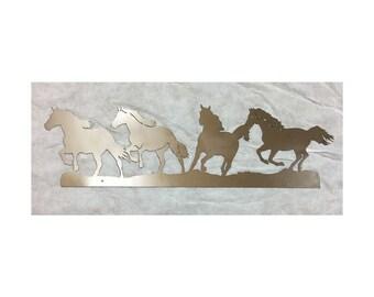 Running Horses Metal Wall Hanging