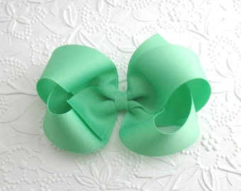 """5"""" Extra Large Hair Bow, Girls Hair Bows, Mint Green Hair Bow, Hair Bow, Boutique Hair Bow, Pastel Hair Bow, No Slip Hair Bow, Big Hair Bow"""