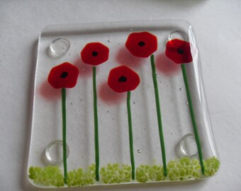 Poppy Fused glass coaster set
