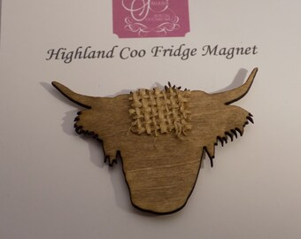 Highland Cow wooden Fridge Magnet