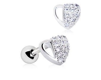 Multi Austrian CZ Paved Heart 316L Surgical Steel Cartilage/Tragus Earring