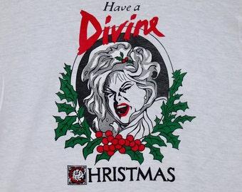 XS * NOS vtg 80s 1981 Divine Christmas t shirt * john waters drag queen glenn milstead movie
