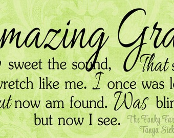 SVG, DXF & PNG - Amazing Grace (How Sweet the Sound)