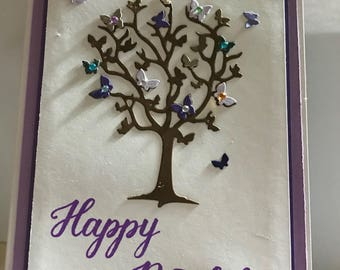 Happy Birthday Butterfly tree card