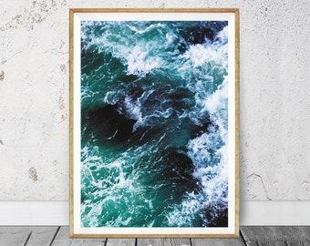 Wave Print, Ocean Print, Ocean Decor, Wave Decor, Coastal Wall Decor, Aqua Wall Art, Instant Download Photography Ocean, Beach Wall Decal