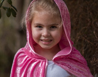 Kids Hooded Cloak | Velour Cape with Hood - Red Riding Hood, Harry Potter, Elsa Cosplay Dress Up Costume