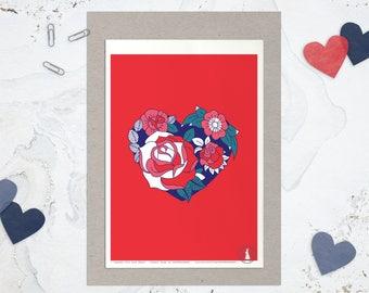 Affiche OH MY HEART - Poster Coeur, Affiche Rose Tatouage, Affiche Passion Amour Rouge - Carte Saint Valentin, Art mural, illustration Love