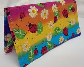 RAINBOW LADY Bugs Checkbook Cover Coupon Holder Clutch Purse Billfold Ready-Made