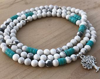 Howlite Mala, 108 Wrap Bracelet, Wrist Mala Bracelet, Yoga Mala, Spiritual Bracelet, Prayer Mala, Healing Bracelet, Boho Bracelet