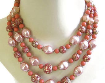 Multi Strand Lucite Necklace Satin Pink, Orange and Gold Beads Vintage Mad Men