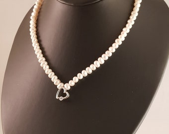 sterling silver heart necklace, sterling silver pearl necklace, heart and pearl necklace