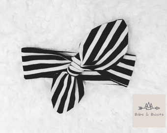 Black striped baby bow, Striped Bow, Baby Headband, Bow Headband, Adjustable Headband, Baby Girl Headband, Baby Accessories, Headband