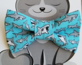 Shark Bow Tie, Bowtie for Pets, Cat Clothing, Dog Accessories, Collar NOT included, Nautical, Shark Week, Blue, Grey, Animals