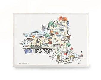 """New York Map Art, 9""""x12"""" New York Map, New York Print, Unframed, Printed on watercolor paper"""