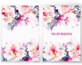 Watercolor Floral Planner Cover   for use with Erin Condren Lifeplanners™, Staples® Arc, The Happy Planner™, and TUL™   Custom
