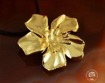 real oleander flower pendant golden, real oleander, real flower pendant, real flower gold plated, greek pendant, flower pendant