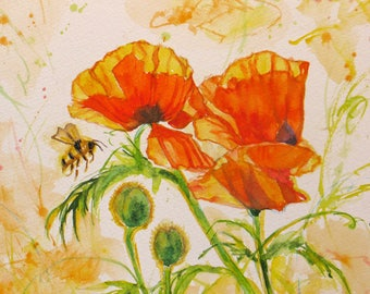 abstract orange poppy art, original watercolor painting, abstract flower art, wall decor, home decor, flower painting, 9 x 9  art,