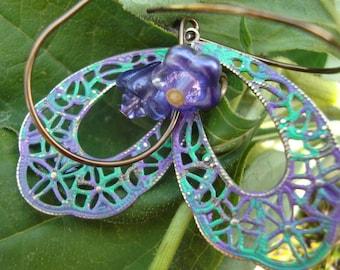 Wisteria Gypsy Lace Teardrop Earrings      Hand Painted Metal Earrings Boho Jewelry Patina Filigree orig 18 dollars now 14 spring sale