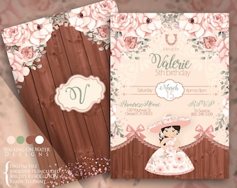 Soft Pink Fiesta Invitation for Girl. Charro Invitation for Girl, Mariachi Invitation, Western Charro Invitation