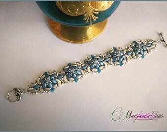 Tutorial, how to make Mirto bracelet with Iris duo and arcos. Pdf step by step bracelet pattern.