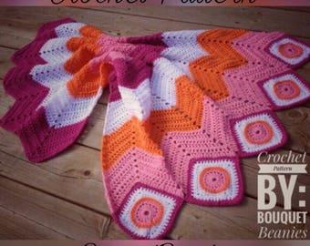 PDF Crochet Pattern- Circle in the Square meets Chevron Blanket