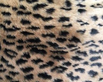 Leopard Short Pile Faux Fur 58 Inch Fabric by the Yard, 1 yard