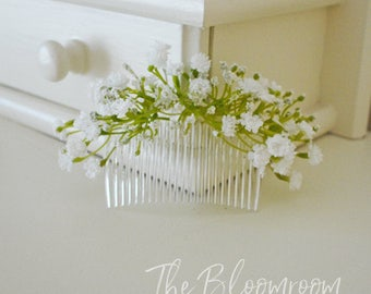 Bridal hair comb, Silk flower comb, Wedding hair accessories, Wedding hair comb, Wedding hairpiece, Gift for Bridesmaid, Baby's Breath