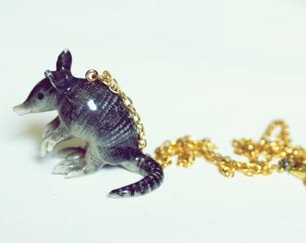 armadillo pendant necklace // ceramic animal necklace // animal jewelry // unique necklace // Texas themed jewelry