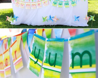 Summer Watercolor PRINTABLE Party Collection - You Customize EDITABLE TEXT >> Instant Download | Paper and Cake