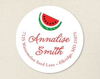 Watermelon Address Labels / Red Watermelon Slice Address Labels - Sheet of 24
