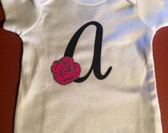 Monogram Baby onesie   Soft   Flower   Rose   Initial