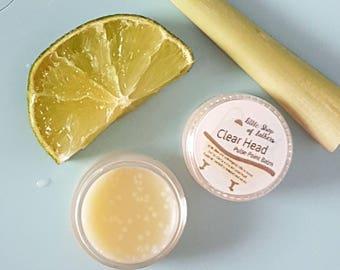 Clear Head - pulse point balm - Aromatherapy temple balm - aids concentration - mental clarity - jetlag - hangover - Lemongrass/Lime Oil