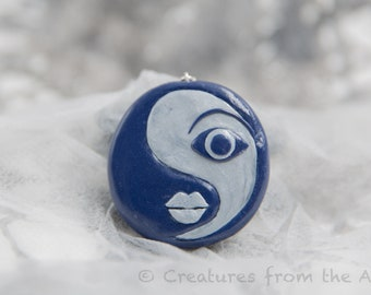 """Polymer Clay Pendant """"Stylised Yin and Yang"""""""