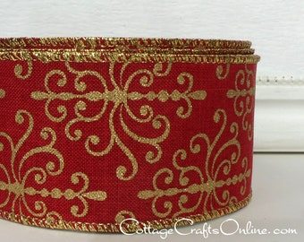 "Christmas Wired Ribbon, 2 1/4"",  Red with Metallic Gold, Faux Linen - TWENTY FIVE YARD Roll - Offray ""Palmyra Red"" Wire Edged Ribbon"