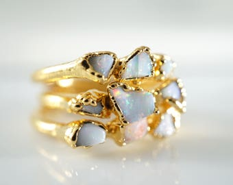 Raw Opal Ring • Opal Ring • Gold Ring • Opal • Stacking Rings • October Birthstone • Mothers Ring • Opal Gold Ring • Opal Engagement Ring