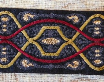 "Luxurious 1-7/8"" Woven Jacquard Ribbon Trim Tape~Gorgeous Celtic design~Multi~Red~Black~Mustard~gold metallic"