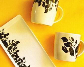 Sushi dish, hand-decorated ceramics. Handmade, plate
