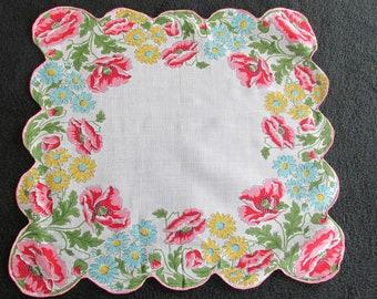 H5 – Vintage Cotton Print Handkerchief Poppies Daisies Floral
