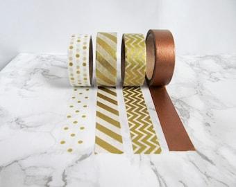 gold & bronze washi tape samples