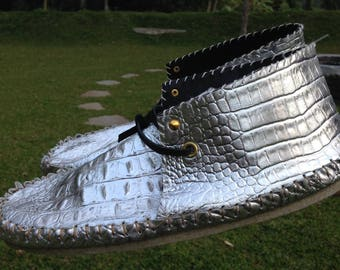 Men's Silver Leather Moccasins