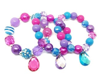 Shimmer and Shine party favors bracelets in organza bags with special birthday girl bracelet!