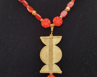 Brass and Red Glass Beaded Necklace