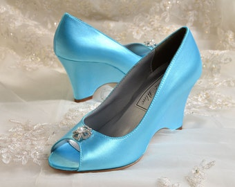 """Wedding Shoes - Bridal Wedge Shoes-  Women's 2  1/2"""" Wedge Shoes-Custom Wedding Shoes, Bridal Shoes, Wedding Wedge Shoes, Shoes Hand Dyed"""