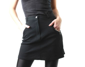 90s Black Skirt / Black Mini Skirt / Vintage Skirt / High Waisted Skirt / Black Skirt / Vintage Black Skirt / Large Mini Skirt  Large Skirt