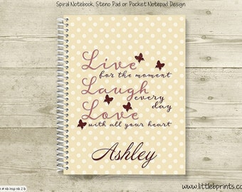 Live Laugh Love Butterfly Personalized Spiral Notebook Journal Prayer Journal Diary