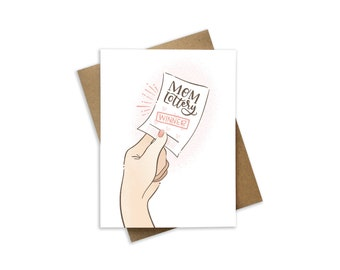 Mother's day card - gift for mom - Mom lottery - Card for mom - Hand written saying - hand lettered quote - Mom birthday card