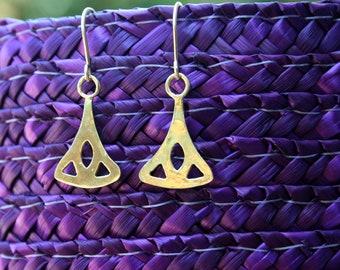 Ethnic gold earrings - gold dangle earrings, 18K gold plated