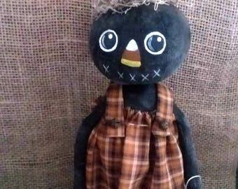 Pumpkin Girl Halloween/ Fall Primitive folk art stump doll