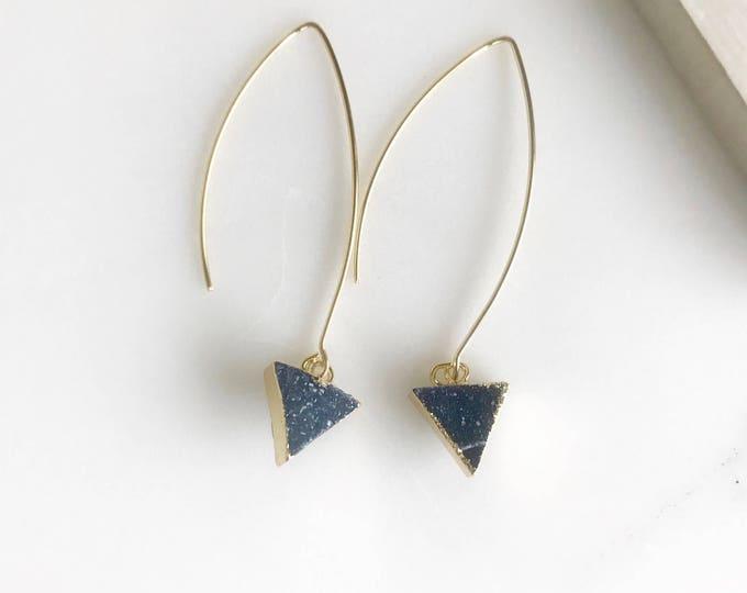 Druzy Triangle Hoop Earrings. Blue Triangle Druzy Dangles. Gold Druzy Earrings. Gift.