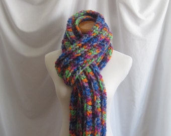 Scarf Bulky Chunky Crochet Scarf - Extra Long in Vibrant Bright Purple, Blue, Orange and Green